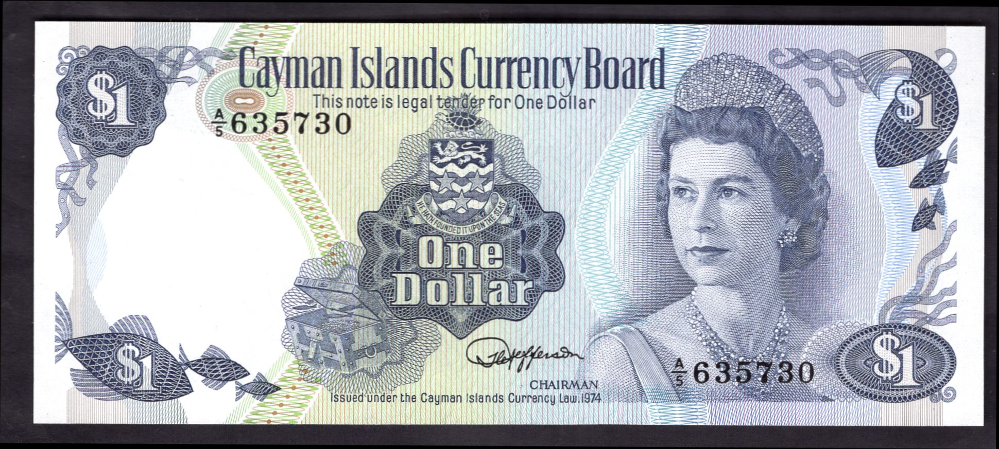 Cayman Islands Currency Board One Dollar 1974 A 5 635730 Pick 5d Unc