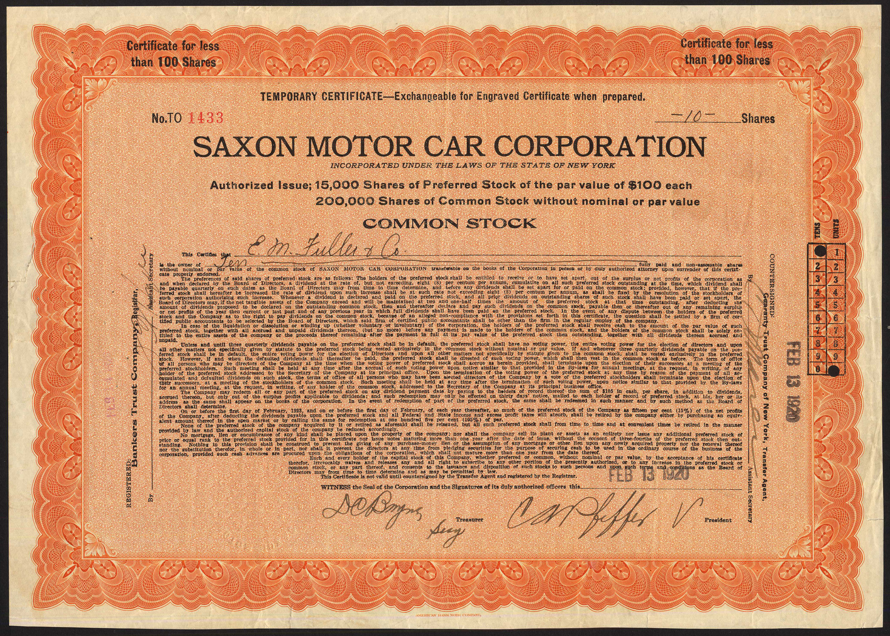 Usa Saxon Motor Car Corporation Temporary Common Stock Certificate