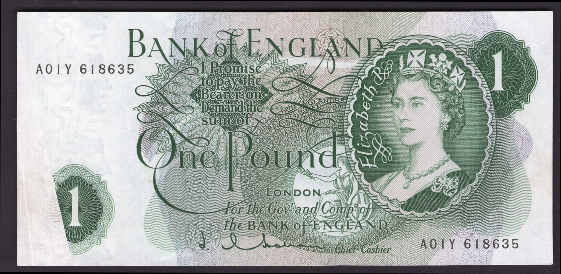 GREAT BRITAIN BANK OF ENGLAND 1960-1964 1 POUND Crisp UNC serial number varies