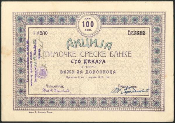 Timok District Bank 100