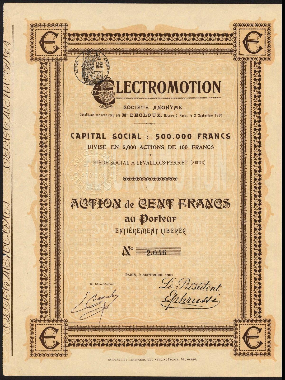 france electromotion s a 100 franc share paris 1901 ebay. Black Bedroom Furniture Sets. Home Design Ideas