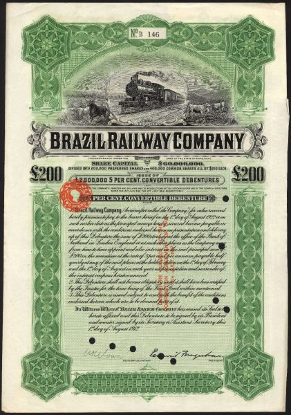 Brazil-Railway-Co-5-Convertible-Debenture1912-200-Waterlow-381894194331