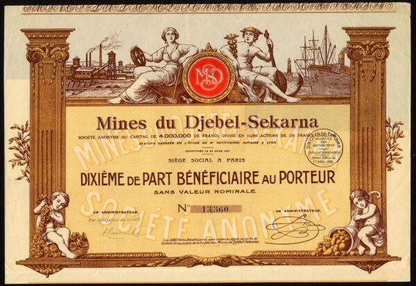 Tunisia-Mines-du-Djebel-Sekarna-one-tenth-preference-share-1925-381456937451