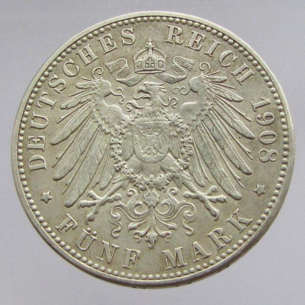 German-States-Saxony-Albertine-silver-5-marks-Leipzig-University-1909-AEF-382081417782-2