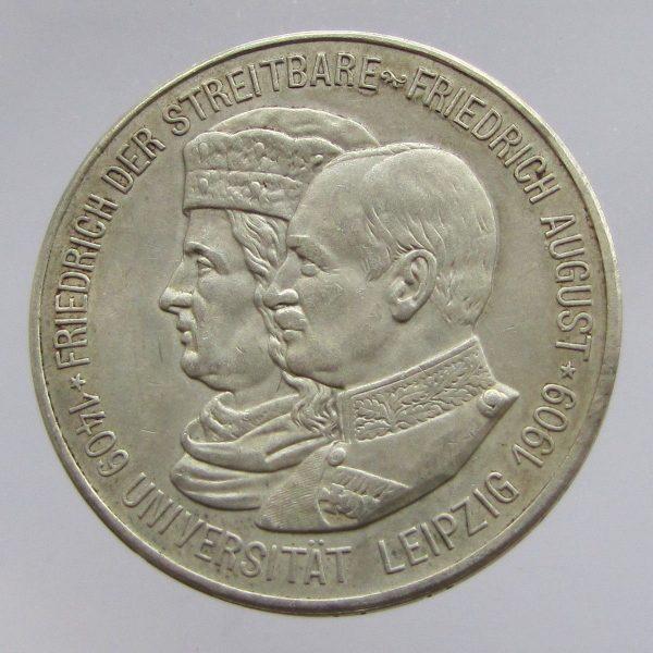 German-States-Saxony-Albertine-silver-5-marks-Leipzig-University-1909-AEF-382081417782