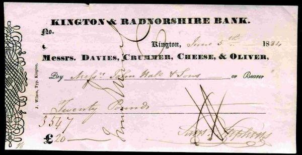 Davies-Crummer-Cheese-Oliver-Kington-Radnorshire-Bank-Kington-1834-381745575773