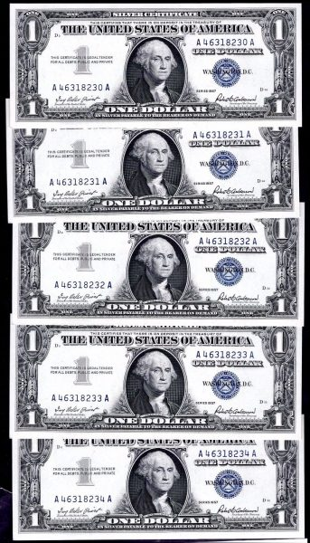 Silver-Certs-10-x-1-consecutive-A46318225-18234-1957-Almost-Uncirculated-382217683864-3