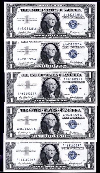 Silver-Certs-10-x-1-consecutive-A46318225-18234-1957-Almost-Uncirculated-382217683864