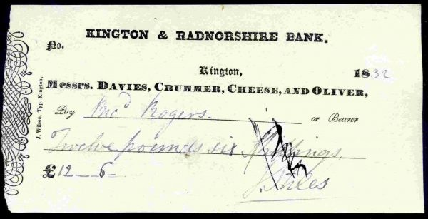 Davies-Crummer-Cheese-Oliver-Kington-Radnorshire-Bank-Kington-1832-172315940537