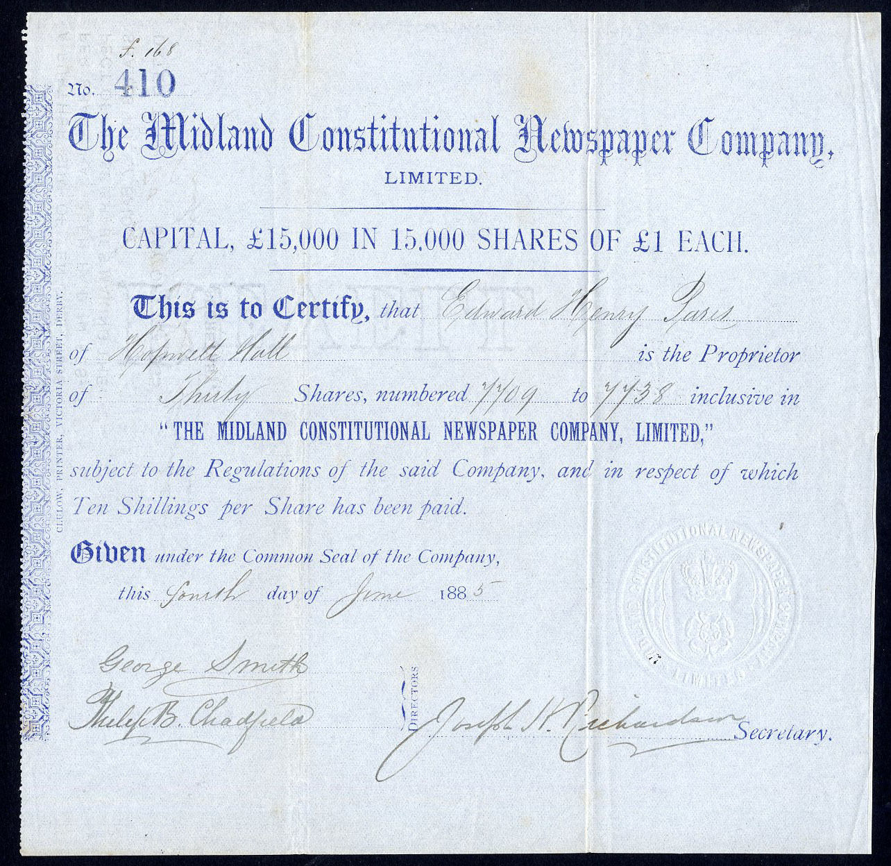 Details about Midland Constitutional Newspaper Co  Ltd , £1 shares, 1885
